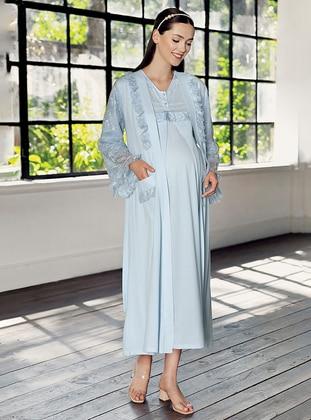 Blue -  - Viscose - Morning Robe