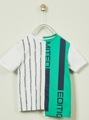 Multi - Crew neck -  - Unlined - White - Boys` T-Shirt