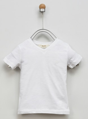Crew neck -  - Unlined - White - Boys` T-Shirt