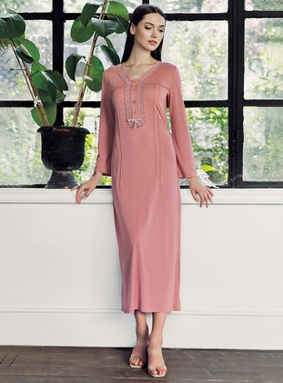 Coral - V neck Collar -  - Viscose - Nightdress
