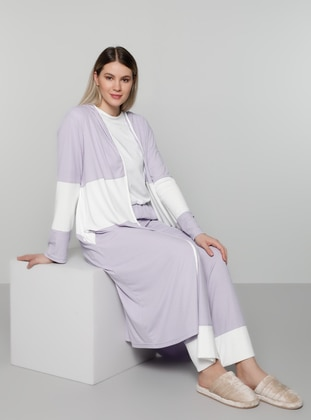 White - Lilac - Unlined - Plus Size Coat