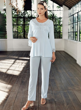 Blue -  - Viscose - Maternity Pyjamas
