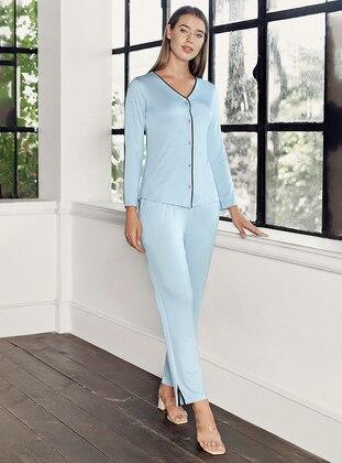 Blue - V neck Collar - - Viscose - Pyjama Set