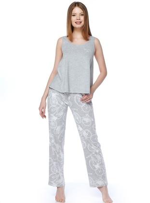 Gray -  - Pyjama Set - DAGİ