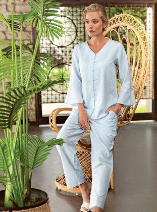 Blue - V neck Collar - - Pyjama