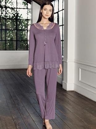Purple - V neck Collar - - Viscose - Pyjama Set