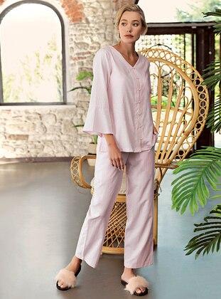 Pink - V neck Collar - - Pyjama