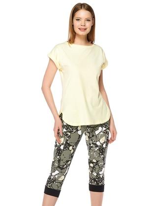 Yellow - Crew neck -  - Pyjama Set - DAGİ