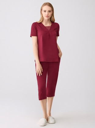 Cherry - V neck Collar - Modal -  - Pyjama Set