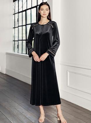 Black - Crew neck - Nightdress