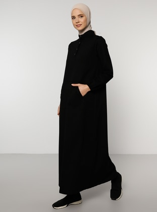 Black - Polo neck - Unlined -  - Dress
