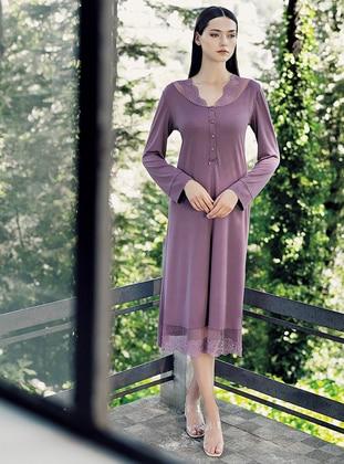 Purple - V neck Collar -  - Viscose - Nightdress