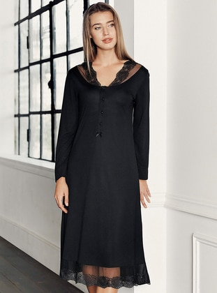 Black - V neck Collar -  - Viscose - Nightdress