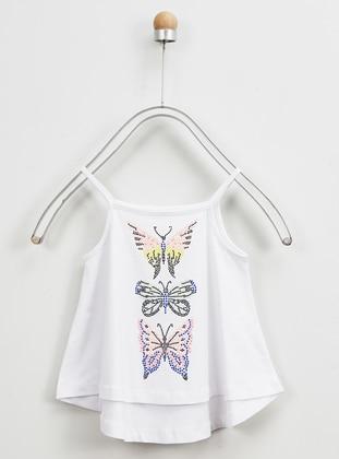 Multi - Crew neck - - Unlined - White - Girls` Underwear
