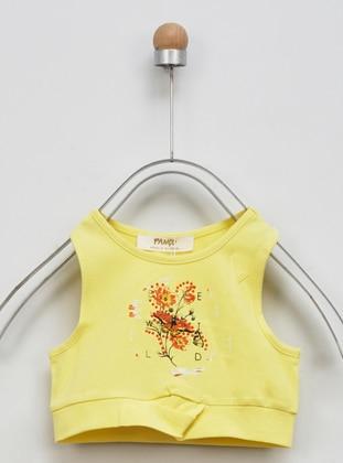 Multi - Crew neck - - Unlined - Yellow - Girls` Underwear