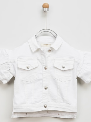 Point Collar - - Unlined - White - Girls` Jacket