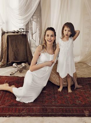 - Viscose - Ecru - Girls` Pyjamas