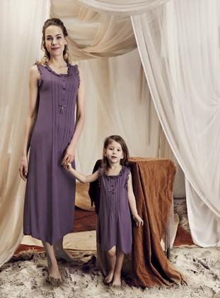 - Viscose - Purple - Girls` Pyjamas