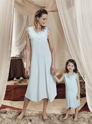 - Viscose - Turquoise - Girls` Pyjamas