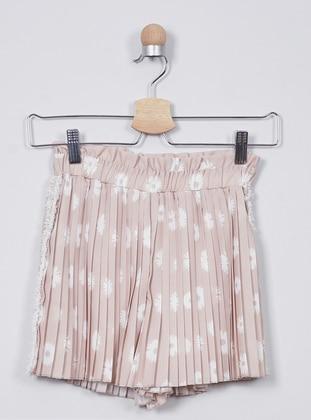 Multi - - Unlined - Beige - Girls` Shorts