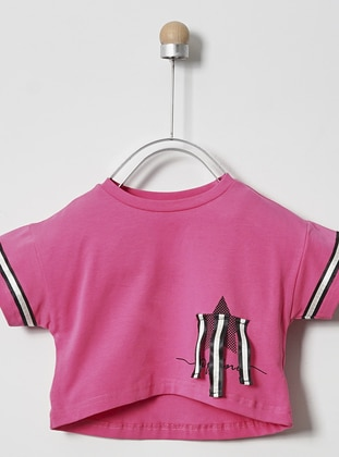 Multi - Crew neck - - Unlined - Fuchsia - Girls` T-Shirt