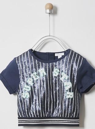 Multi - Crew neck - Unlined - Navy Blue - Girls` T-Shirt