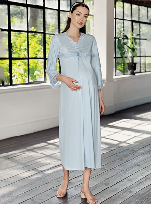 Blue - Crew neck -  - Viscose - Nightdress