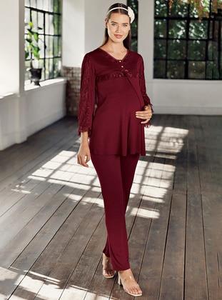 Maroon -  - Viscose - Maternity Pyjamas