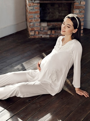 Ecru - - Viscose - Maternity Pyjamas