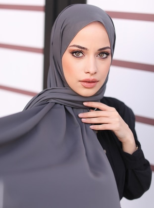 Gray - Plain - Shawl - Şal