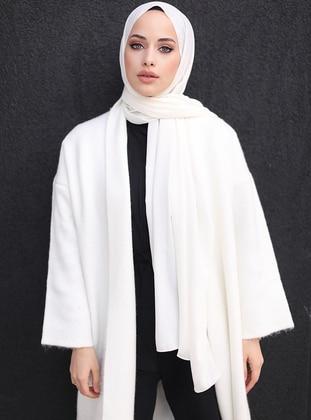 White - Plain - Chiffon - Shawl - Şal