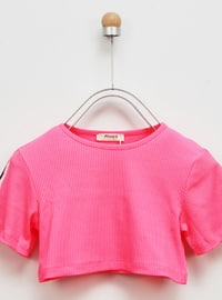Crew neck - Unlined - Pink - Girls` T-Shirt