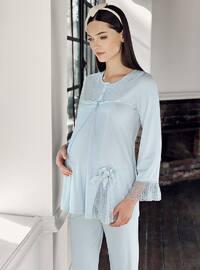 Blue -  - Viscose - Maternity Pyjamas