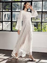 Ecru - Cotton - Viscose - Loungewear Dresses