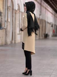 Unlined - Camel - Crew neck - Crepe - Evening Suit