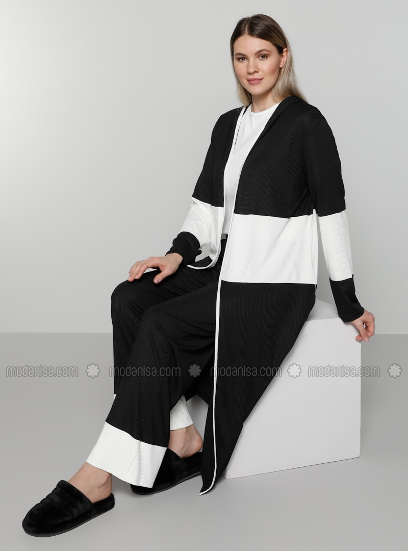 White - Ecru - Black - Unlined - Plus Size Coat