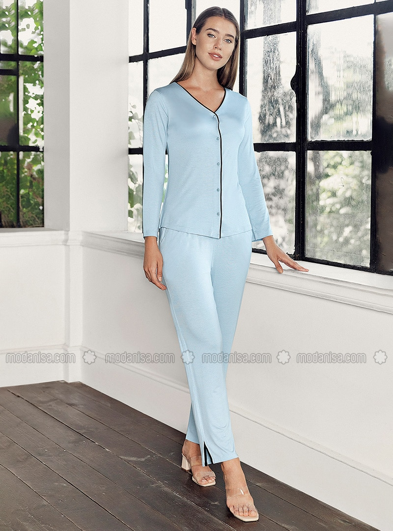 Blue - V neck Collar - - Viscose - Pyjama Set
