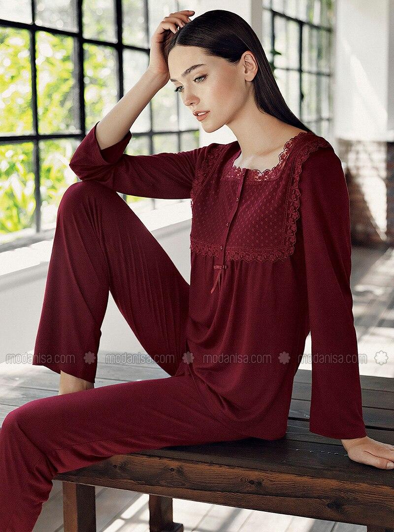 Maroon - Sweatheart Neckline - - Viscose - Pyjama Set