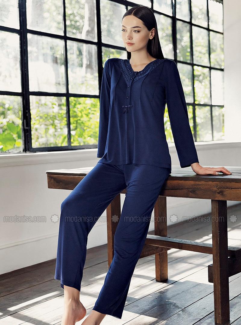 Navy Blue - V neck Collar - - Viscose - Pyjama Set