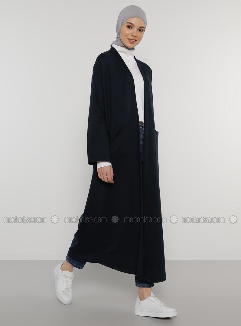Navy Blue - Unlined - V neck Collar - Acrylic - Topcoat