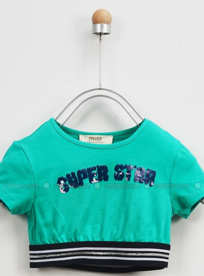 Multi - Crew neck - - Unlined - Green - Girls` T-Shirt