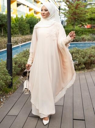 Cream - Fully Lined - Crew neck - Abaya