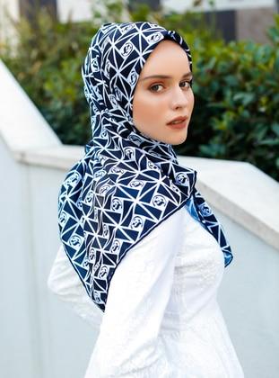 Navy Blue - Printed - Twill - Scarf - Şal Evi
