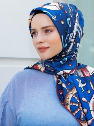 Blue - Printed - Twill - Scarf