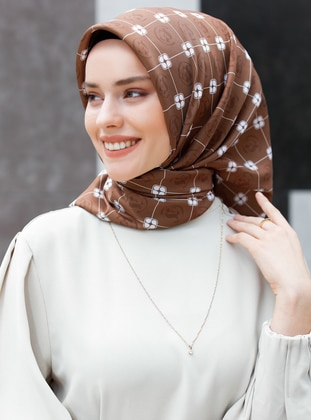 Brown - Printed - Twill - Scarf