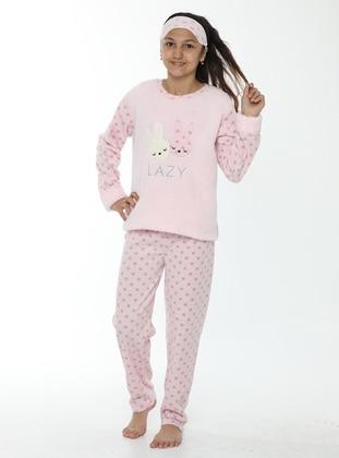 Multi - Crew neck - Unlined - Pink - Girls` Pyjamas - Akbeniz Kids