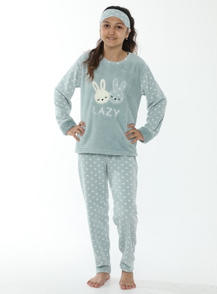 Multi - Crew neck - Unlined - Mint - Girls` Pyjamas - Akbeniz Kids
