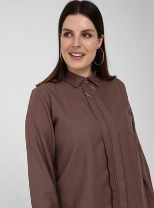 Purple - Point Collar - Plus Size Tunic