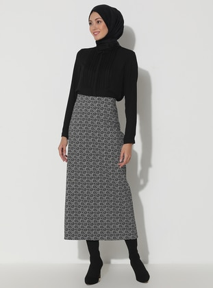 White - Black - Multi - Unlined - Viscose - Skirt