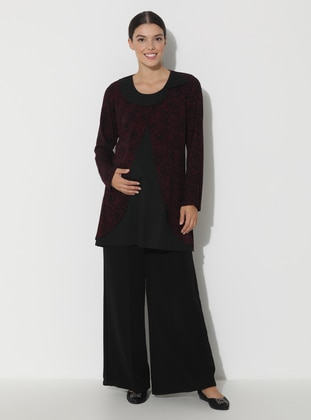 Maroon - Black - Point Collar - Maternity Tunic